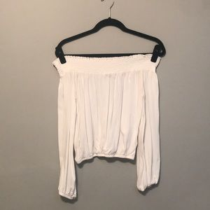 White, Off the Shoulder Long Sleeve Shirt